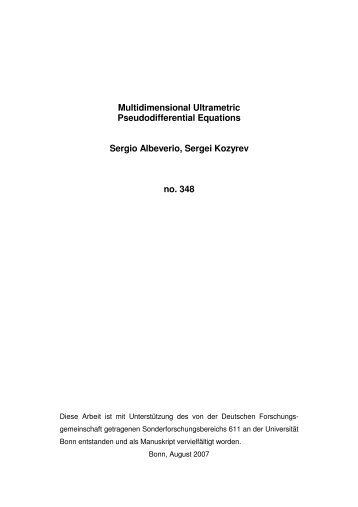 Multidimensional Ultrametric Pseudodifferential Equations Sergio ...