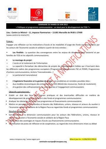 Lieu : Centre Le Mistral – 11, impasse Flammarion ... - CRESS PACA