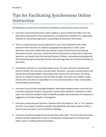 Tips for Facilitating Synchronous Online Instruction - StarTalk