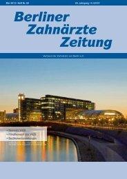 BZZ_2013_05 - Verband der Zahnärzte von Berlin