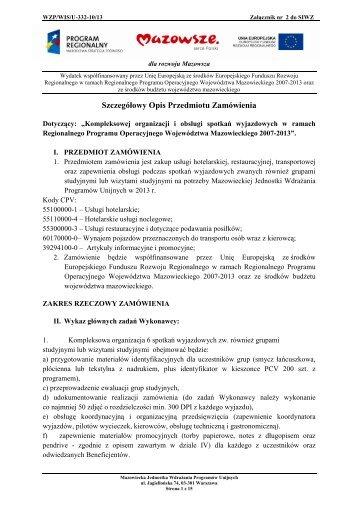 Szczegółowy Opis Przedmiotu Zamówienia - Mazowiecka ...