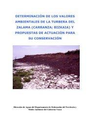 determinación de los valores ambientales de la turbera del zalama