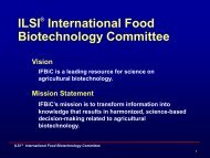 and IFBiC Mission and Plans - International Life Sciences Institute