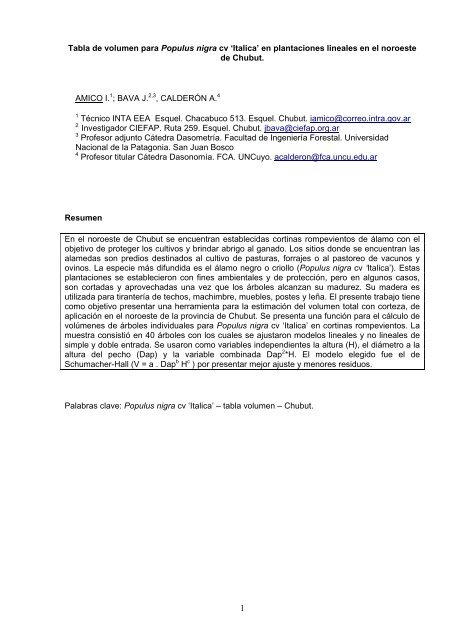 Tabla de volumen para Populus nigra cv Italica en plantaciones ...