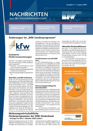 BFW: Nachrichten aus der Immobilienwirtschaft