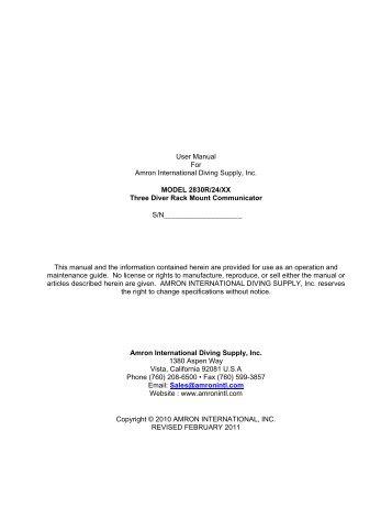 Instruction Manual - Amron International Inc.