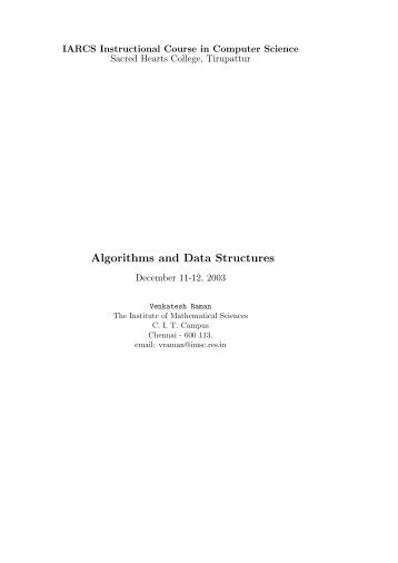 Algorithms and Data Structures - IARCS