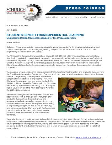 Design Course Aims at Experiential Learning- April 1 - The Schulich ...