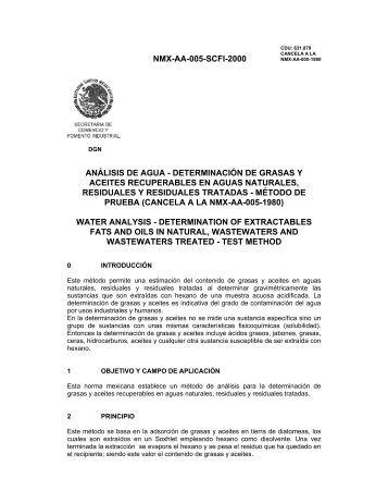 NMX-AA-005-SCFI-2000 ANÁLISIS DE AGUA ... - CONAGUA