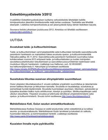 Esteettömyystiedote 3/2012 UUTISIA