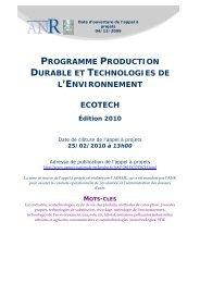programme production durable et technologies de l ... - Derbi