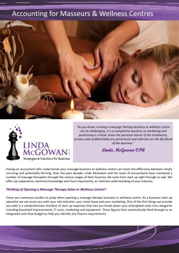 Accounting for Masseurs & Wellness Centres - Linda McGowan ...