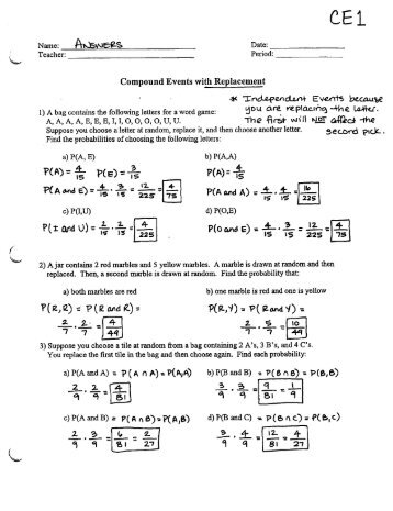 Compound Probability Worksheet