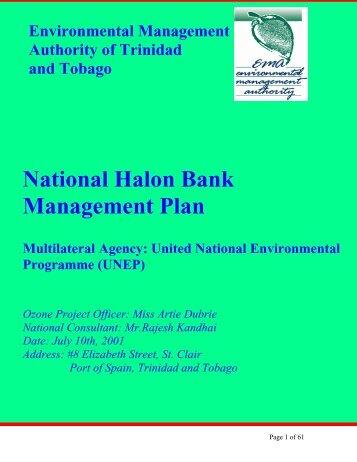 National Halon Bank Management Plan - Environmental ...