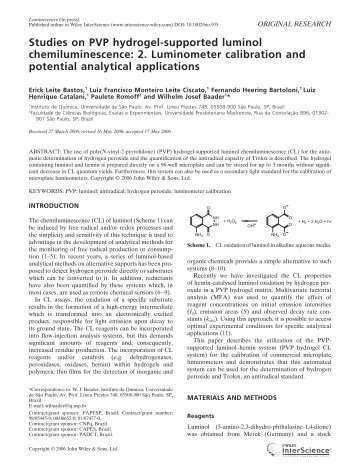 Studies on PVP hydrogel-supported luminol ... - ResearchGate