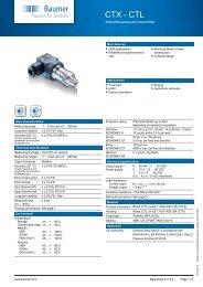 CTX-CTL Industrial pressure transmitter for OEM ... - Baumer