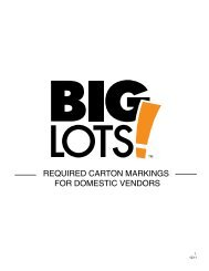 required carton markings for domestic vendors - Big Lots