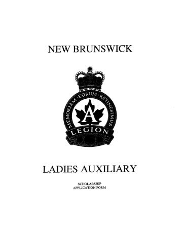 NEW BRUNSWICK LADIES AUXILIARY - Royal Canadian Legion ...