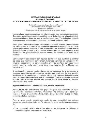 HERRAMIENTAS COMUNITARIAS Capítulo 1, Sección 2 ... - cuaed