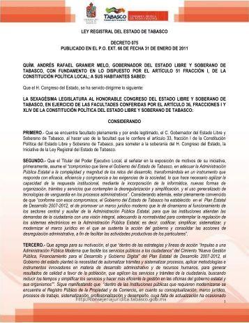 LEY REGISTRAL DEL ESTADO DE TABASCO DECRETO 075 ...