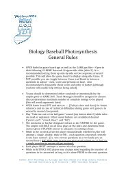 Biology Baseball Photosynthesis General Rules - Life Sciences ...