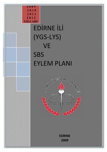 ve sbs eylem planı - Edirne Milli Eğitim Müdürlüğü