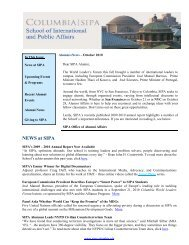 NEWS at SIPA - School of International and Public Affairs ...