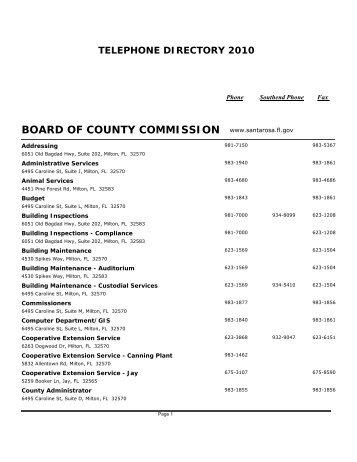 Public Telephone Directory - Santa Rosa County