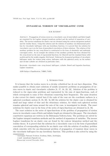 DYNAMICAL TORSION OF VISCOELASTIC CONE 1. Introduction It ...