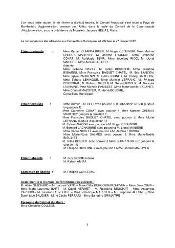 Consulter le Procès-verbal du 6 février 2012 - Montbéliard