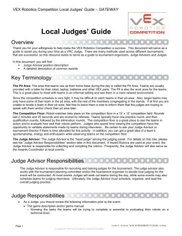 Local Judges' Guide - VEX Robotics