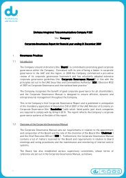 Corporate Governance Report for financial year ending 3 - Du