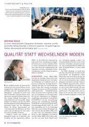QuAlITäT STATT WEChSElnDER mODEn - Wirtschaftsmagazin Ruhr
