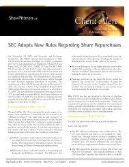 SEC Adopts New Rules Regarding Share Repurchases - Pillsbury ...