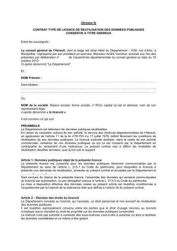 Archives ANNEXE IV_Licence_onéreux - pierresvives - Conseil ...