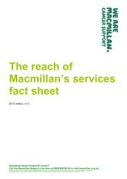 The cost of Macmillan services - Macmillan Cancer