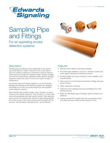 Air Sampling Pipe and Fittings - Edwards Signaling
