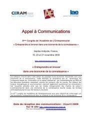 Appel à Communications - Académie de l'Entrepreneuriat