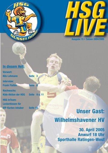 Unser Gast: Wilhelmshavener HV - HSG Düsseldorf