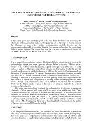 EFFICIENCIES OF HOMOGENISATION METHODS: OUR PRESENT ...