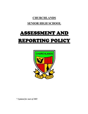 assessment and reporting policy - Churchlands Senior High School