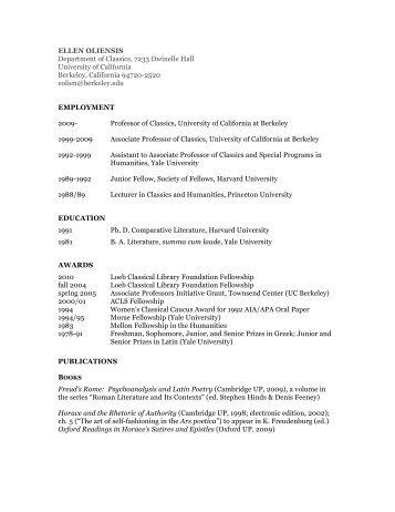 ELLEN OLIENSIS Department of Classics, 7233 Dwinelle Hall ...