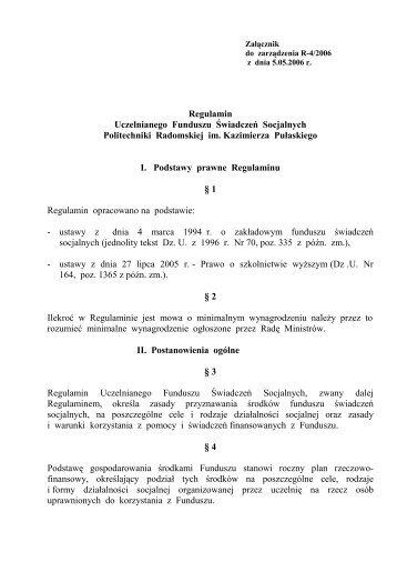 Regulamin Uczelnianego Funduszu Świadczeń ... - Solidarność