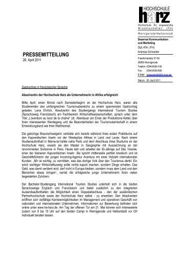 Absolventin der Hochschule Harz als Unternehmerin ... - WiWi-Online