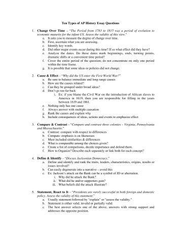 3 types of apush essays