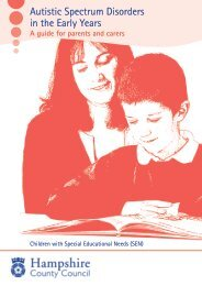 Autistic Spectrum Disorders in the Early Years - Hampshire County ...