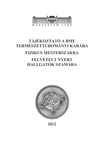 Kari tájékoztató, tanterv - BME Központi Tanulmányi Hivatal