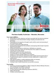Purchase Quality Technician – Warndon, Worcester - Bosch-Career
