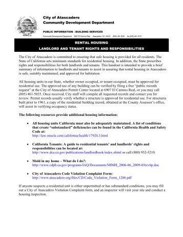 Landlord Tenants Rights and Responsibilities - City of Atascadero