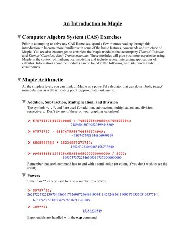 An Introduction to Maple Computer Algebra System (CAS) Exercises ...